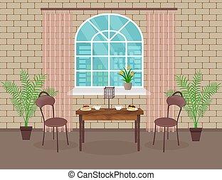 vivente, caffè, arch., stanza, soffitta, sedie, lampada, parete, dessert, caldo, finestra, interno, mattone, tavola, design.