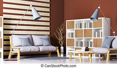 vivente, caffè, moderno, libreria, stanza, lampada pavimento, divano, interpretazione, disegno, interno, tavola, 3d