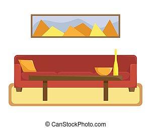 vivente, caffè, stanza, appartamento, divano, illustrazione, tavola., rosso