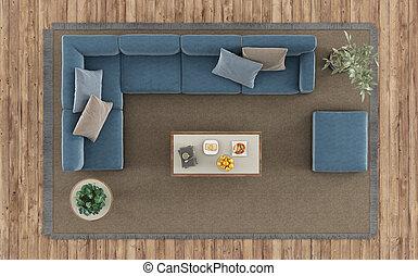 vivente, caffè, stanza, divano, cima, moderno, -, interpretazione, vista, tavola, bianco, moquette, 3d