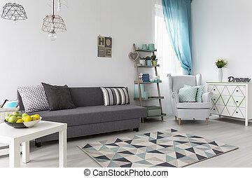 vivente, caffè, stanza, divano, grigio, tavola