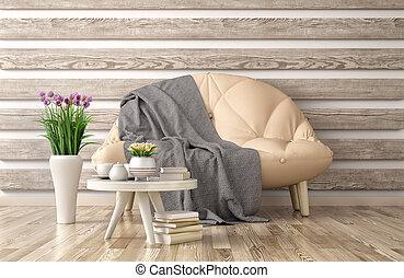 vivente, caffè, stanza, divano, moderno, interpretazione, disegno, interno, tavola, 3d