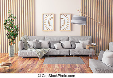 vivente, caffè, stanza, grigio, moderno, divano, interpretazione, disegno, interno, tavola, pianta, 3d