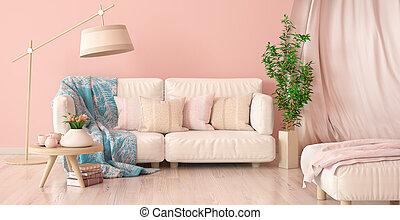 vivente, caffè, stanza, tulips, divano, moderno, interpretazione, disegno, interno, tavola, tenda, 3d