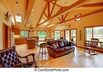 vivente, cavallo, stanza, ranch, kitchen., grande