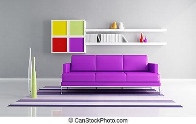 vivente, contemporaneo, stanza, colorato