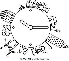 vivente, costruzioni, tempo, città, icone, astratto, moderno, illustrazione, viaggiare, pianeta, vettore, città, albero, orologio, infographics, forests., earth., concept.