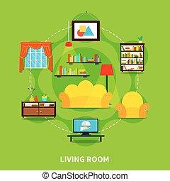vivente, disegno, stanza