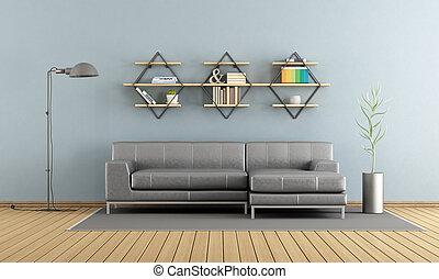vivente, divano, stanza moderna, mensole