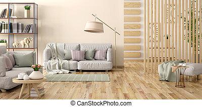 vivente, fiore, stanza, grigio, moderno, divano, interpretazione, interno, libri, disegno, scaffale, 3d
