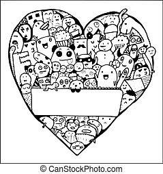 vivente, forma, oggetto, cuore