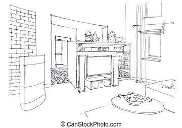 vivente, grafico, stanza, furniture., moderno, schizzo, interior.