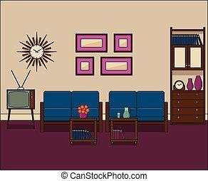 vivente, illustration., stanza, vettore, retro, interior., lineare