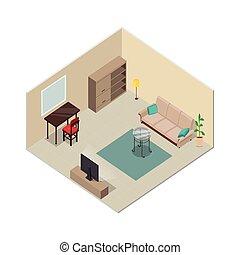 vivente, isometrico, stanza, furniture., interno, design.