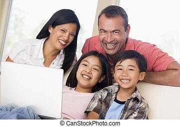 vivente, laptop, stanza, famiglia, sorridente