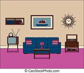 vivente, lineare, room., vettore, retro, interior., illustration.