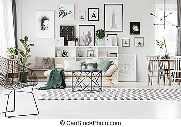 vivente, luminoso, stanza, galleria