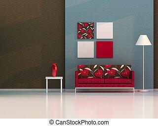 vivente, marrone, moderno, stanza