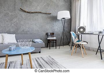 vivente, minimalista, stile, idea, stanza