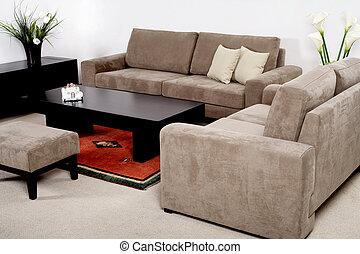 vivente, mobilia, stanza moderna, classico