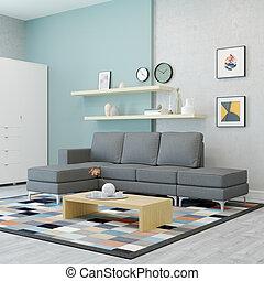 vivente, moderno, disegno, stanza