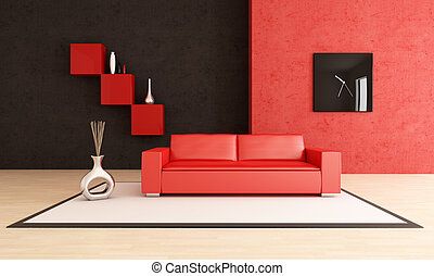 vivente, moderno, nero, stanza, rosso