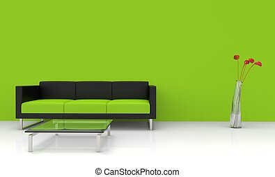 vivente, moderno, verde, stanza