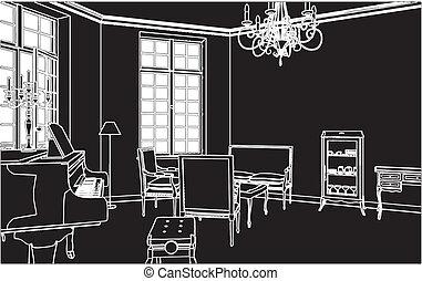 vivente, pianoforte, stanza
