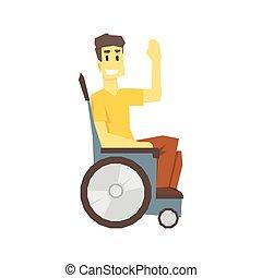 vivente, pieno, carrozzella, incapacità, giovane, illustrazione, superare, persona, vivere, vettore, tipo, lesione