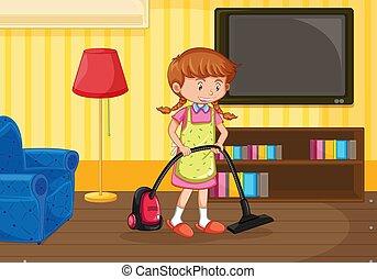 vivente, ragazza, pulizia, stanza
