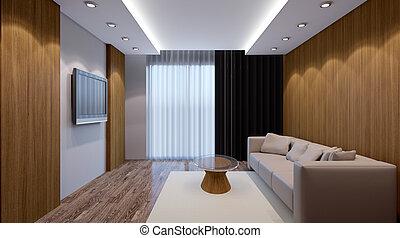 vivente, render, room., ufficio., moderno, interno, 3d