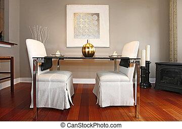 vivente, set, stanza, cenando, moderno, elegante, tavola