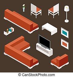 vivente, set, stanza, mobilia