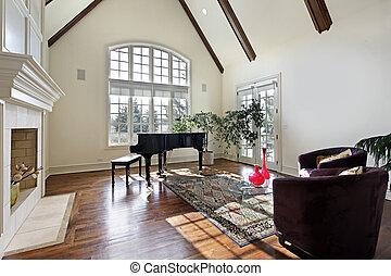 vivente, soffitto, legno, stanza, raggi