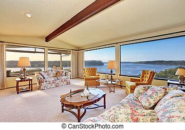 vivente, soffitto, stanza, vaulted, lusso, interno