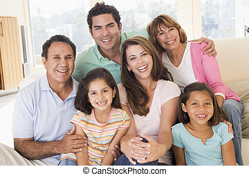 vivente, sorridente, esteso, stanza, famiglia