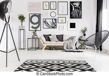 vivente, stanza moderna, galleria
