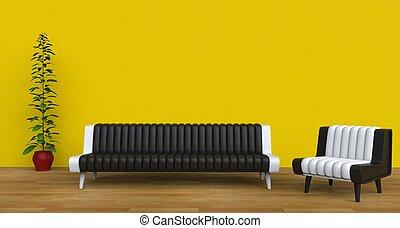 vivente, stanza moderna, giallo