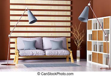 vivente, stanza moderna, lampada pavimento, divano, interpretazione, libreria, disegno, interno, 3d