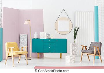 vivente, stanza moderna, mobilia