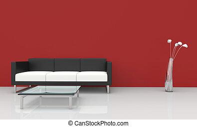 vivente, stanza moderna, rosso