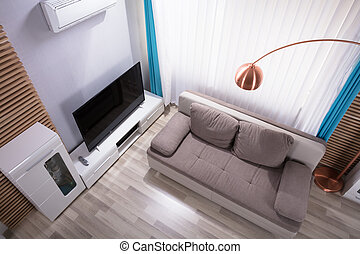 vivente, stanza moderna, vista elevata