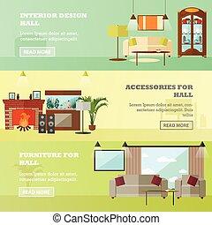 vivente, stile, concetto, stanza, furniture., appartamento, illustrazione, vettore, interno