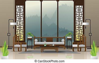 vivente, stile, stanza, cinese, 1, lusso, fondo, interno, mobilia