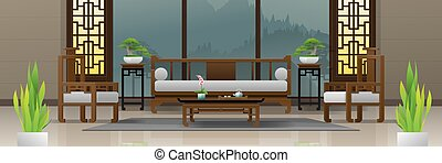 vivente, stile, stanza, cinese, 2, lusso, fondo, interno, mobilia