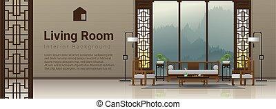 vivente, stile, stanza, cinese, 3, lusso, fondo, interno, mobilia
