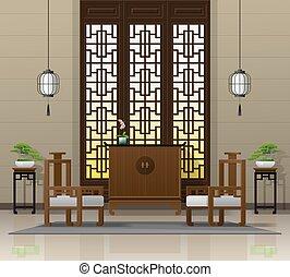 vivente, stile, stanza, cinese, 5, lusso, fondo, interno, mobilia