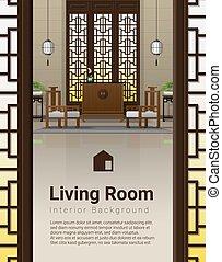 vivente, stile, stanza, cinese, fondo, lusso, 7, interno, mobilia