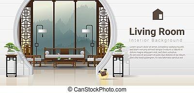 vivente, stile, stanza, cinese, lusso, fondo, 6, interno, mobilia