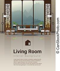 vivente, stile, stanza, cinese, lusso, fondo, interno, mobilia, 4